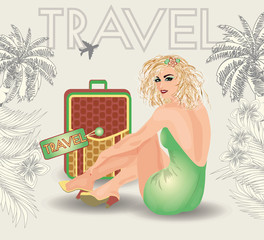 Summer travel blonde pin up girl, vector illustration