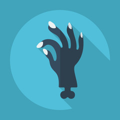 Flat modern design with shadow zombie hand
