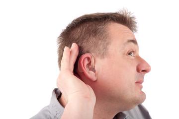 Listening deaf man