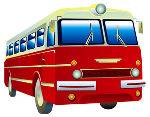Red retro bus
