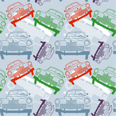 Seamless pattern with vintage cars