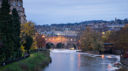 Pulteney Bridge, River Avon in Bath Spa city, England.
