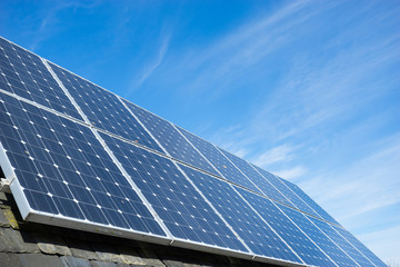 solar cell panel on house's roof, green energy