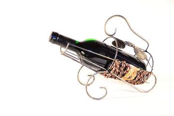 Wine bottle in rack
