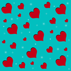red hearts texture on blue background