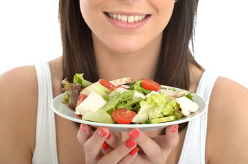 Attractive Healthy Young Woman Holding a Plate of Chicken Salad