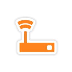 icon sticker realistic design on paper wifi