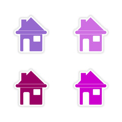 assembly realistic sticker design on paper houses