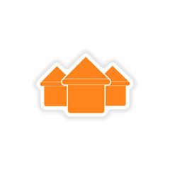 icon sticker realistic design on paper houses