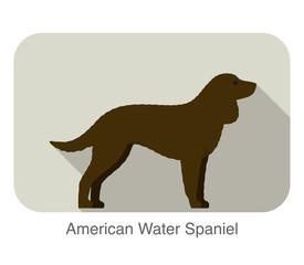 American water spaniel dog standing flat icon design