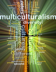 Multiculturalism wordcloud concept illustration glowing