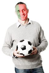 Mature man with Portuguese flag on face.