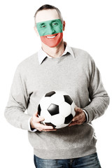 Mature man with Bulgaria flag on face.