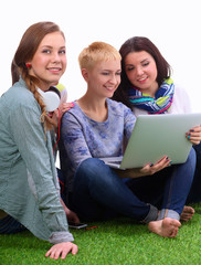 Group of three teenager girls.