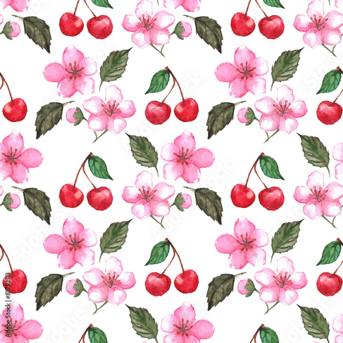 Fototapeta Cherry blossom sakura seamless pattern texture background