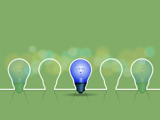 light bulb with bokeh in background, vector