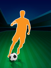 player control soccer in outline style illustration, vector