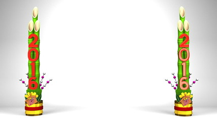 2016 Pair Of Long Kadomatsu On White Text Space