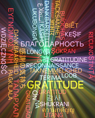 Gratitude multilanguage wordcloud background concept glowing