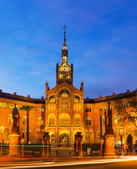 Facade of Hospital de Sant Pau in evening