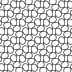 Black and white geometric seamless pattern with wavy line.