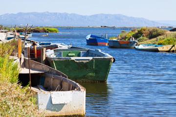 Old fishing boats at delta of Ebro river