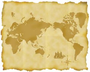 古い世界地図とコンパスと帆船