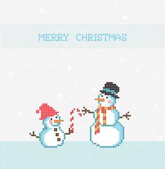Merry Christmas Pixel Vector, Snowman