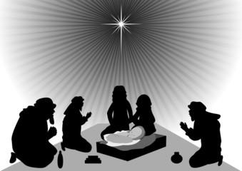 Wise men bring gold, frankincense, and myrrh to baby Jesus