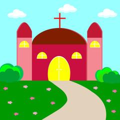 Vector illustration of a christian church