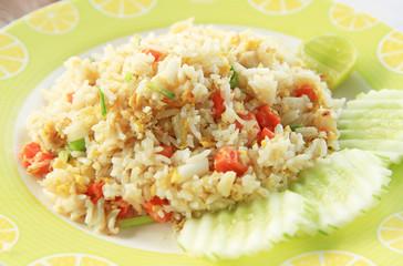 Fried rice on white dish