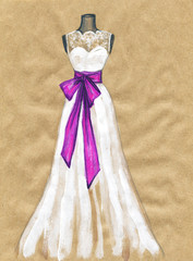 wedding dress .watercolor illustration