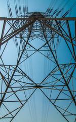 Under view high voltage transmission lines.