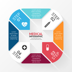 Vector circle plus sign infographic. Template for diagram, graph