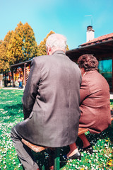 Elderly couple married at the park - series