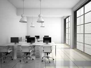 Modern office interior in white 3D rendering