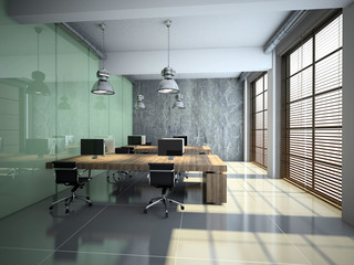 Modern office interior with glass and concrete 3D rendering