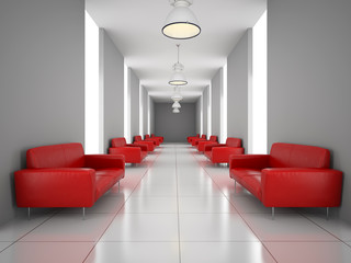 Abstract hall with a red sofa wall 3D rendering
