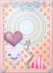 Pink postcard with heart a pois