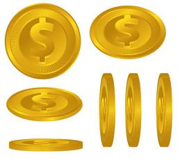 Dollar Symbol Gold Coins