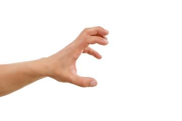 Hand greift nach etwas