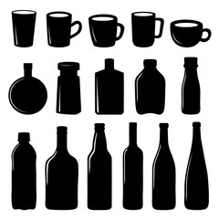 Cup and Bottle Icon Black Vector Design