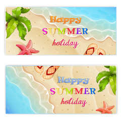 Set of two summer vacation banner.