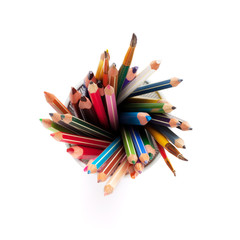 Colorful pencils and brushes