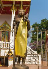 monk statue for Shin Thiwali or Sivali under sun light
