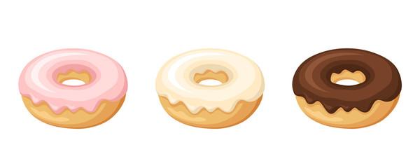 Set of three donuts. Vector illustration.