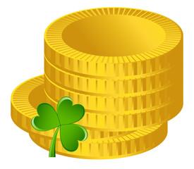 Gold Coins Shamrock Vector