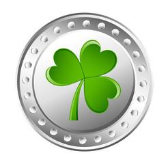 Green Shamrock Silver Coin