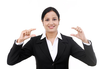 Young business woman presenting a product