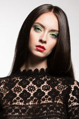 sexy fashion model brunette hair lips perfect skin beauty lace